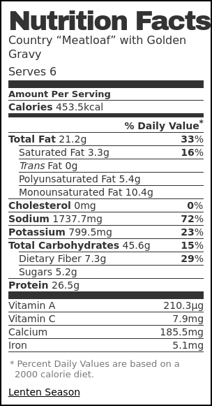 "Nutrition label for Country ""Meatloaf"" with Golden Gravy"