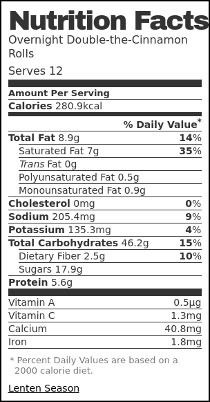Nutrition label for Overnight Double-the-Cinnamon Rolls