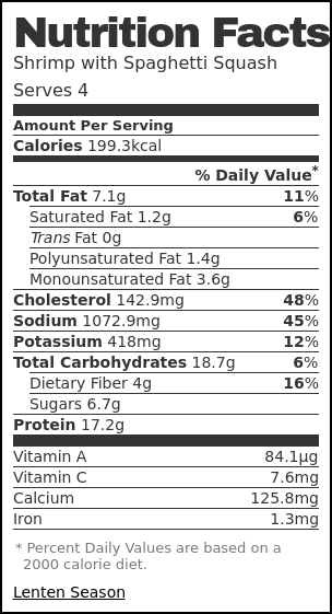Nutrition label for Shrimp with Spaghetti Squash